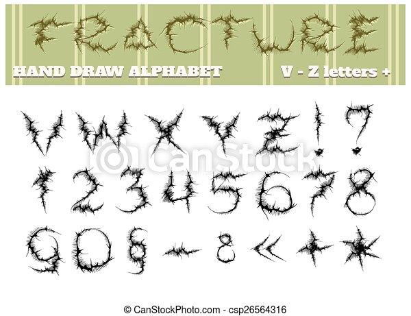 alfabet, deel, twee, breuk - csp26564316