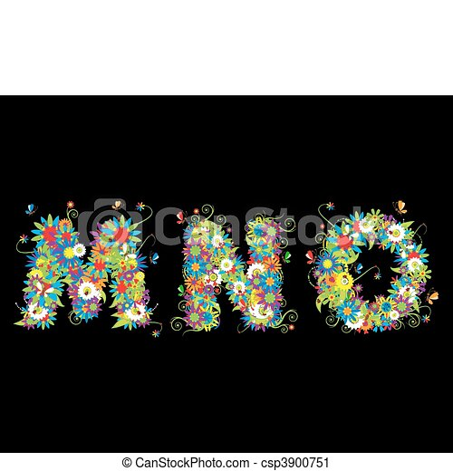 Alfabet, floral design. See also letters in my gallery - csp3900751
