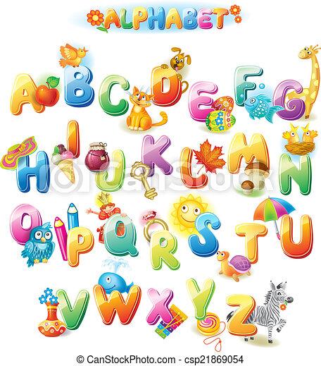 alfabet, geitjes, afbeeldingen - csp21869054