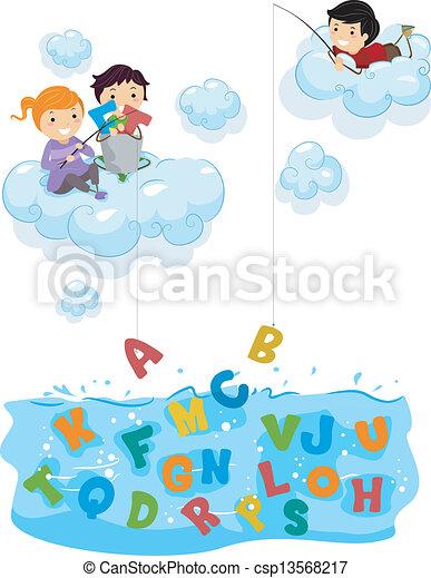 alfabet, geitjes, wolken, visserij, zee - csp13568217