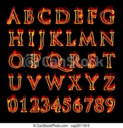 alfabet, het vlammen, getallen - csp2011915