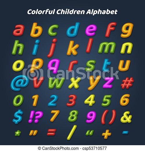 alfabet, kinderen, kleurrijke - csp53710577