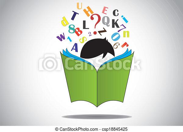 alfabet, lezende , opengeslagen boek, geitje - csp18845425