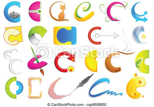 alfabet, różny, b, ikona - csp9508850
