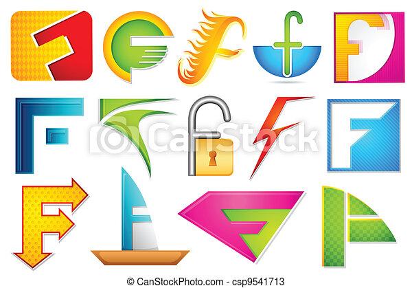 alfabet, różny, ikona, f - csp9541713