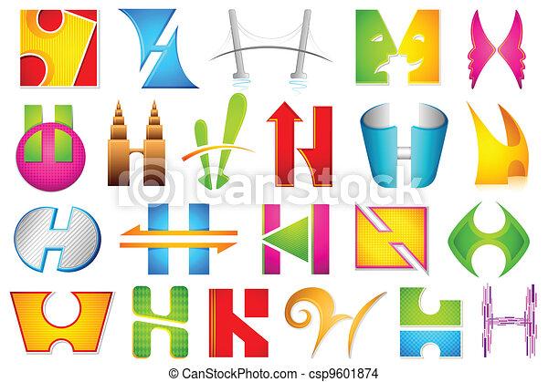 alfabet, różny, ikona, h - csp9601874