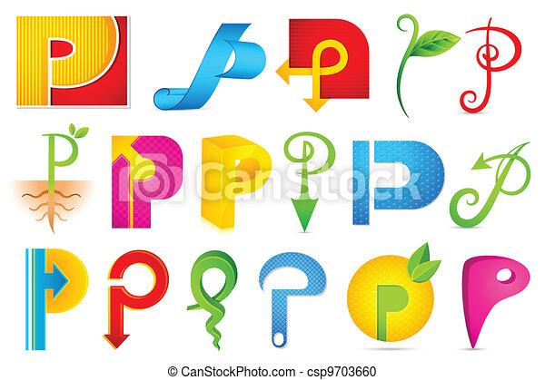 alfabet, różny, ikona, p - csp9703660