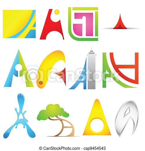 alfabet, różny, ikona - csp9454543