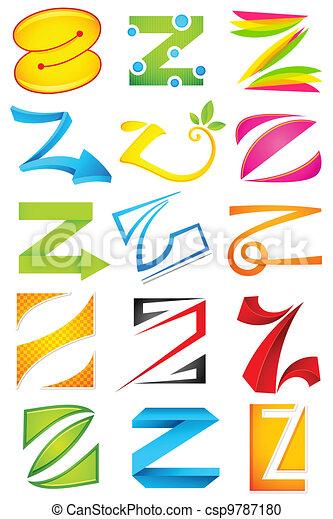 alfabet, różny, z, ikona - csp9787180