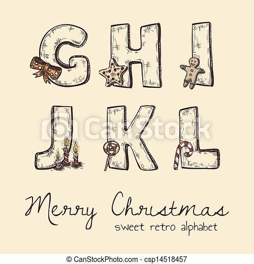 alfabet, retro, kerstmis - csp14518457