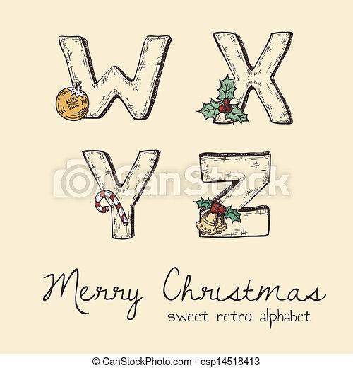 alfabet, retro, kerstmis - csp14518413