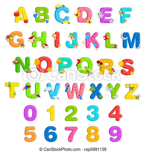 alfabet, sätta, numrera - csp5991138