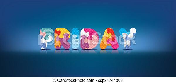alfabet, skriftligt, fredag, problem - csp21744863