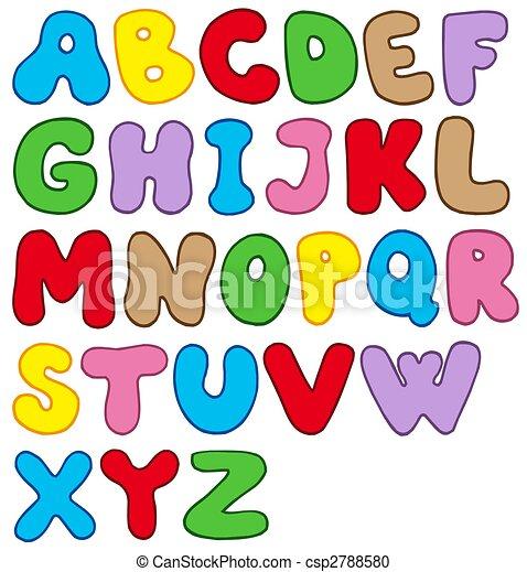 alfabet, spotprent - csp2788580