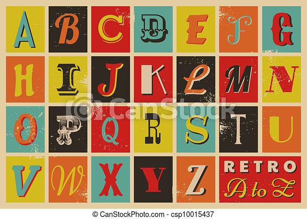alfabet, stijl, retro - csp10015437