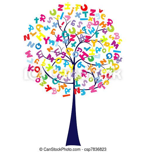 alfabeto, árvore, letras - csp7836823