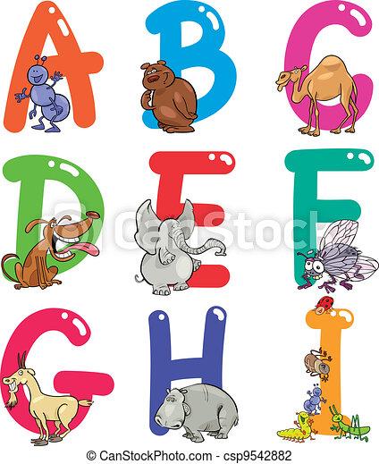 Alfabeto de dibujos animados con animales - csp9542882