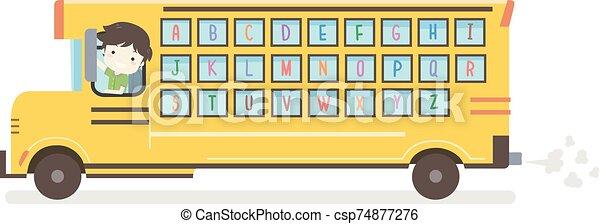 alfabeto, autobús, escuela, niño, niño, ilustración - csp74877276
