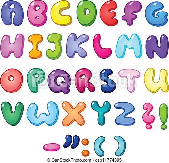 El alfabeto de burbujas 3D - csp11774395