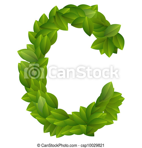 Alfabeto, c, hojas verdes, carta. C, hecho, alfabeto, leaves., verde ...