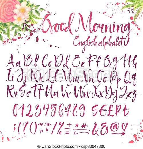 alfabeto caligráfico inglés con decoración - csp38047300