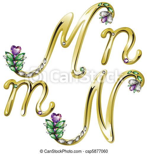 Letras doradas letras M,N - csp5877060