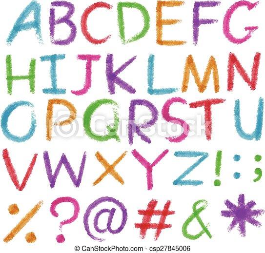 Cartas del alfabeto en colores brillantes - csp27845006