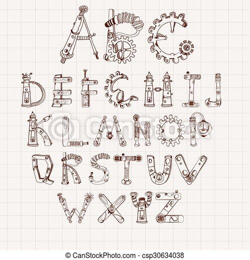 El alfabeto mecánico - csp30634038