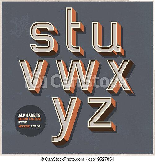 alfabeto, cor, retro, style. - csp19527854
