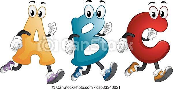 Las mascotas del alfabeto corren - csp33348021