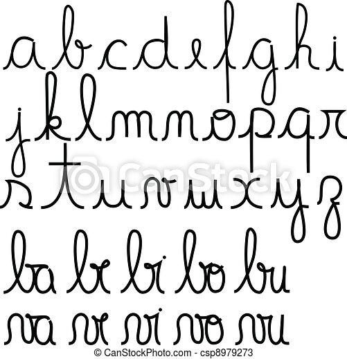 Famoso Alfabeto, corsivo, scritto mano vettori - Cerca Clip Art  IB67