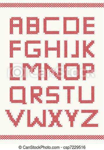 El alfabeto de puntos cruzados - csp7229516