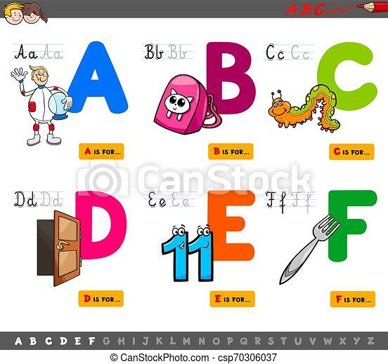 alfabeto, educacional, crianças, letras, caricatura - csp70306037