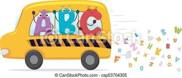 Las mascotas del alfabeto ilustran el autobús escolar - csp53704305