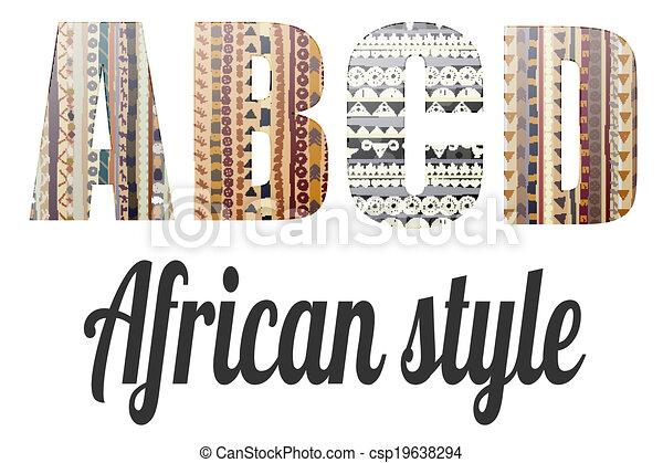 Cartas del alfabeto en el estilo africano - csp19638294