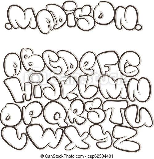 Alfabeto de dibujos animados en el estilo de los cómics. Graffiti. - csp62504401