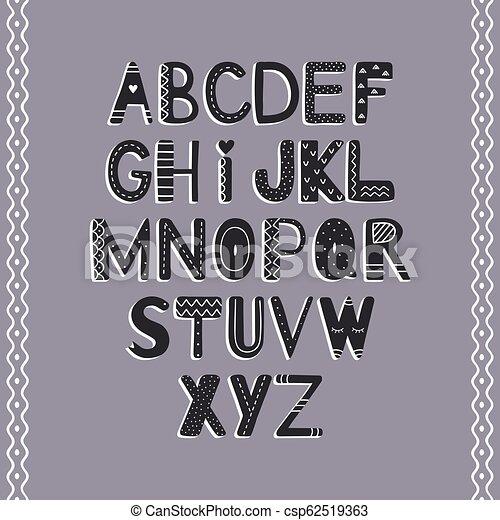 El alfabeto de dibujo manual al estilo escandinavo - csp62519363