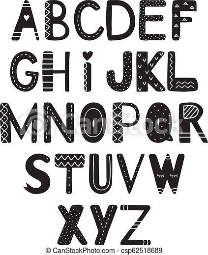 El alfabeto de dibujo manual al estilo escandinavo - csp62518689