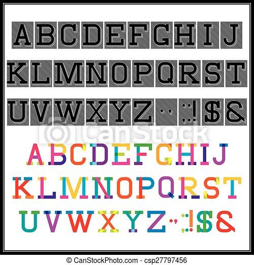 Alfabeto en el estilo abstracto y retro - csp27797456