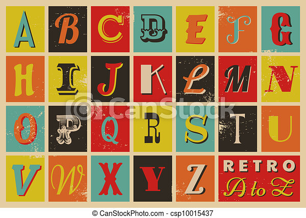 alfabeto, estilo, retro - csp10015437