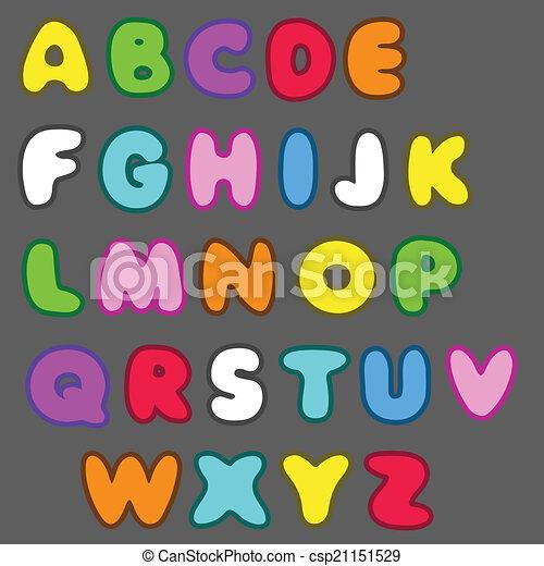 El alfabeto vector inglés en estilo de dibujos animados - csp21151529
