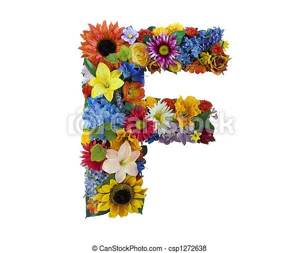 alfabeto, flor, -, f - csp1272638