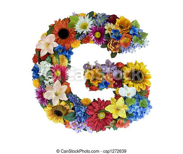 alfabeto, flor, -, g - csp1272639