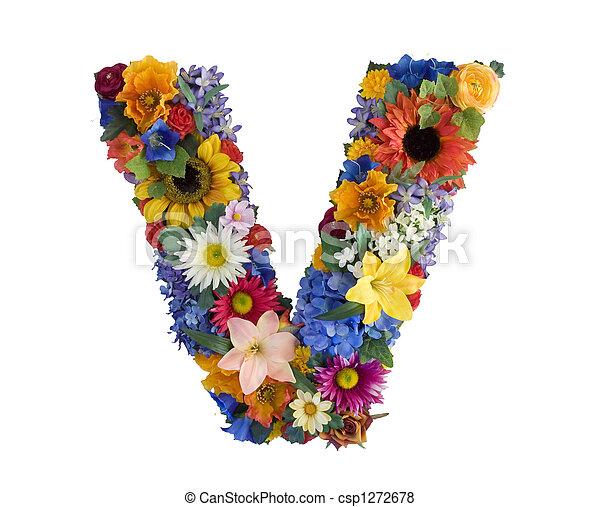 alfabeto, flor, -, v - csp1272678