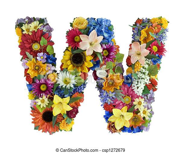 alfabeto, flor, -, w - csp1272679