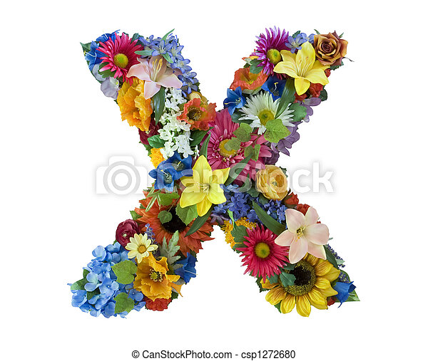 alfabeto, flor, -, x - csp1272680