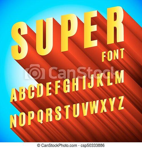 alfabeto, font, 3d