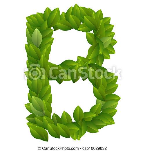 Alfabeto, hojas, b, verde, carta. B, alfabeto, leaves., hecho, verde ...