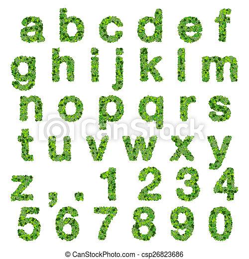 Alfabeto, hojas, -, números. Hermoso, hecho, gradiente,... imágenes ...