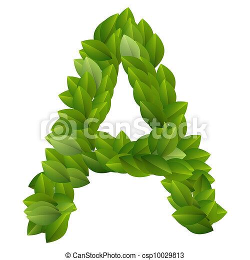 Alfabeto, hojas, verde, carta. Alfabeto, hecho, verde,... clip art ...